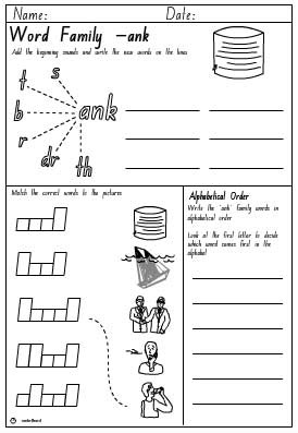 Word Family 'ank' Activity Sheet