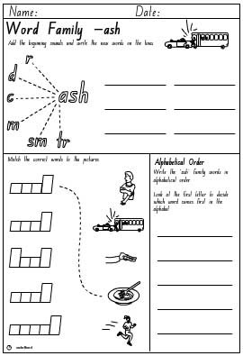 Word Family 'ash' Activity Sheet