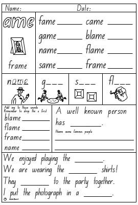 Word Family 'ame' Activity Sheet