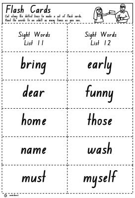 Flash Cards List 11 and 12