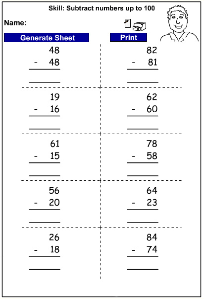 Drill - Subtract numbers up to 100 (Auto-Generated)