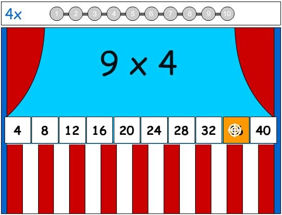 4X Tables Game - Learn the Number Facts