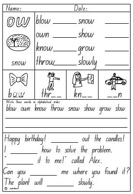 ow Activity Sheet