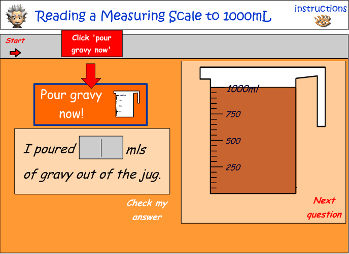 Reading a scale - calculating the amount poured