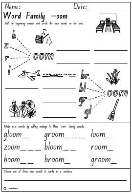 Word Family 'oom' Activity Sheet