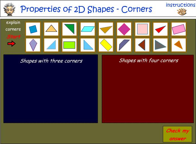 Sort 2D shapes - number of corners