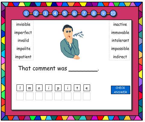 Jumbled Letters Prefixes 'im' 'in'
