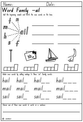 Word Family 'ail' Activity Sheet