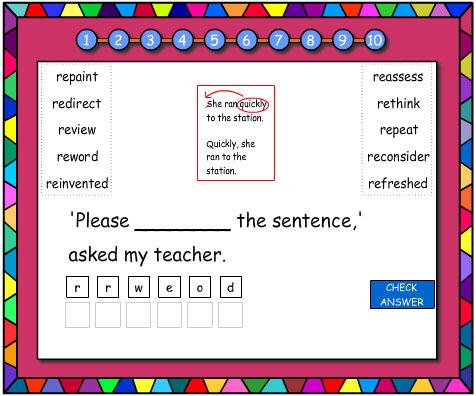 Jumbled Letters Prefixes 're'