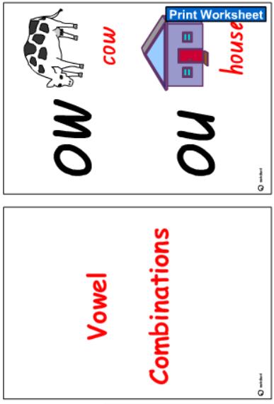 Vowel Combinations Cards -Colour