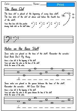 Bass Staff Activity Sheet