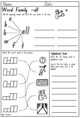 Word Family 'all' Activity Sheet