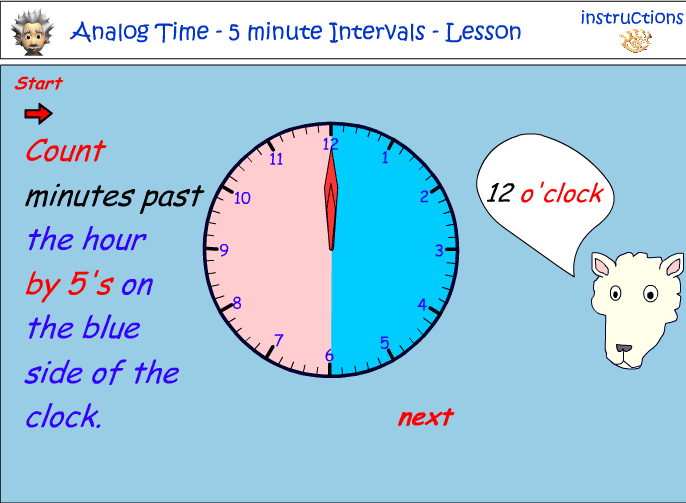 Reading five minute intervals on an analog clock
