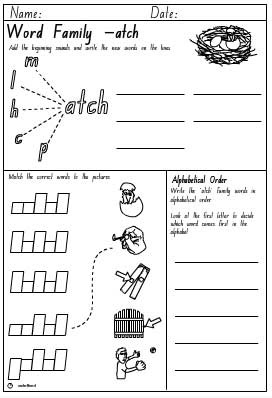 Word Family 'atch' Activity Sheet