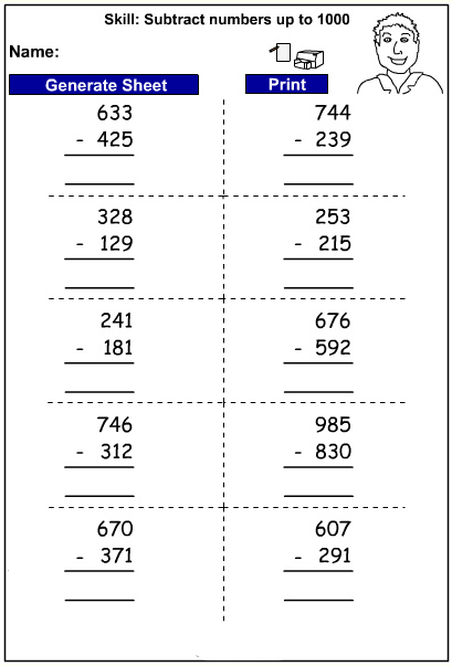 Drill - Three digit subtraction - written strategy (Auto-Generated)
