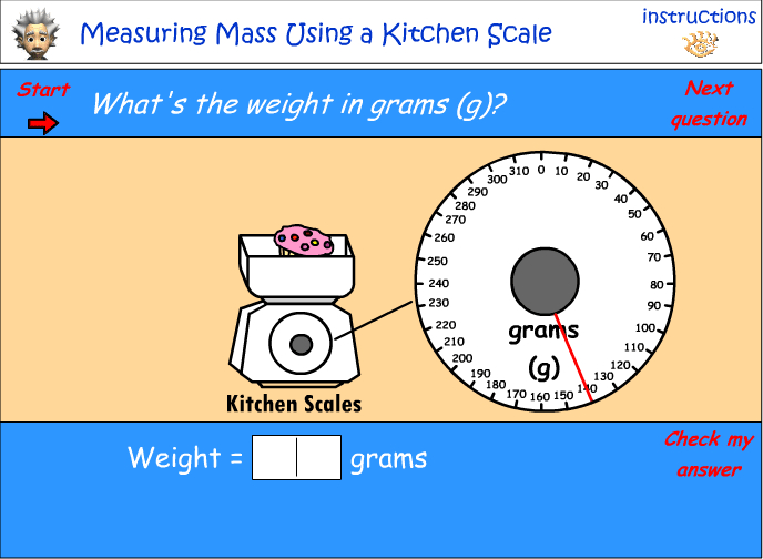 Measuring weight using a kitchen scale