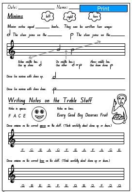 Minims Activity Sheet