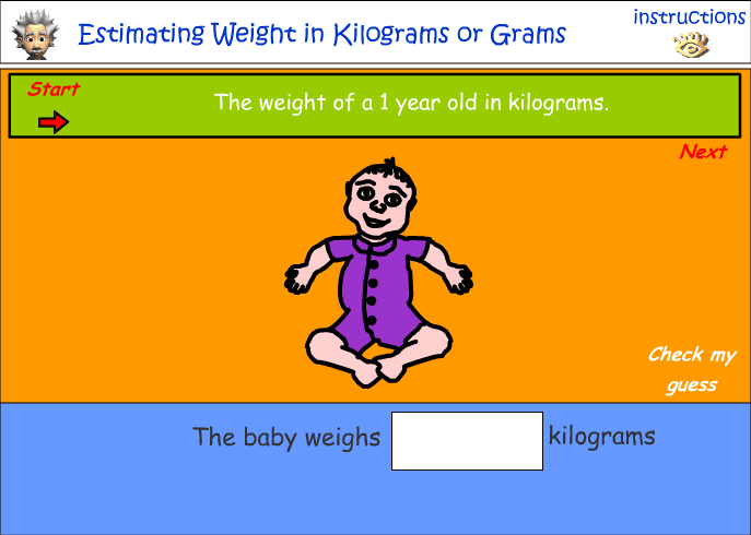 Estimating weight in grams and kilograms