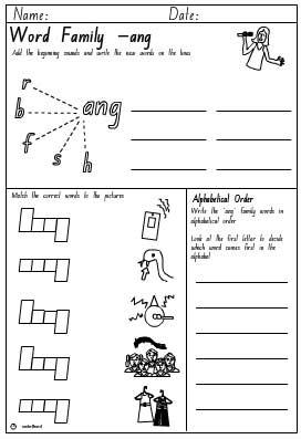 Word Family 'ang' Activity Sheet