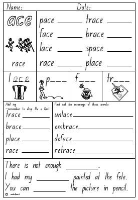 Word Family 'ace' Activity Sheet