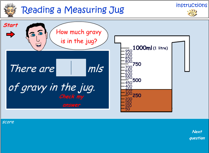Reading a measuring jug