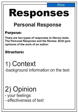 Writing Guide -Personal Response