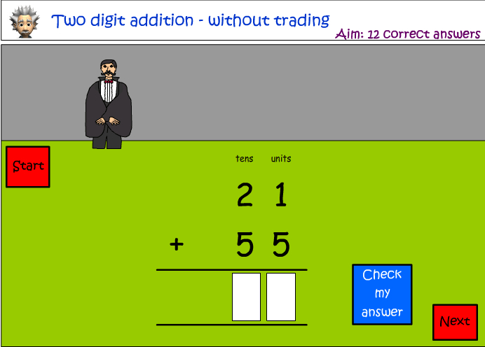 Addition of two digit numbers - without trading