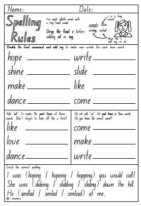 Drop e + ing or ed Activity Sheet