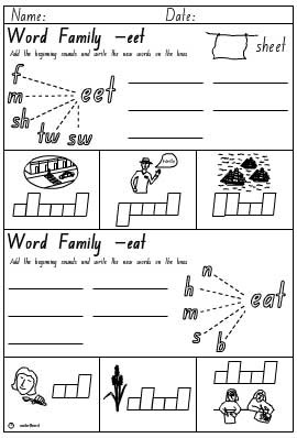 Word Families 'eet' and 'eat' Activity Sheet